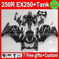all black 7gifts+Tank For Kawasaki Ninja EX250  250 250R 17MC2 08 09 gloss black 10 11 12 2008 2009 2010 2011 2012 ZX250R Fairin