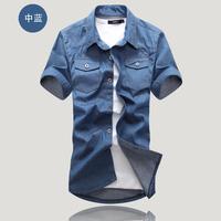 2014 Summer Washing Charm jeans shirts short sleeve men's shirt ,Denim Wear white men's jacket Cowboy wear free shipping