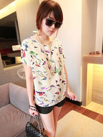 1PC Hot Sale Fashion Casual Women Ladies Girls Chiffon Short Slim Colorful Bird Print O-Neck Loose T-shirt, Free & Drop Shipping