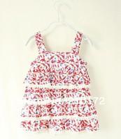 The new 2014 Girls lace broken flower dress with shoulder-straps dress multi-layer cake dress girl dress