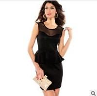 New summer fashion women dress sexy sleeveless gold rivets Europe and America retro swing lady dress lotus leaf