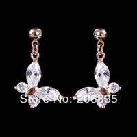 Butterfly Earrings Swiss Cubic Zirconia Flower Earrings For Women For Party/Weddings