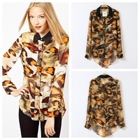 2014 Spring And Autumn New Fashion Brand Big Leopard Print Chiffon Long-Sleeves Plus Size Women Blouses Shirt 14228