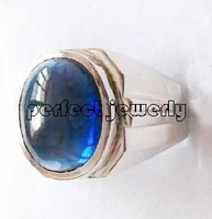 Men ring Sapphire rings Free shipping Blue apphire with 925 silver plated 18k white gold men's ring #2