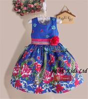 Baby Girl Dress New Summer 2014 Blue Printed Elegant Sundress Flower Girl Princess Dress For Baby Dress Kids Clothing