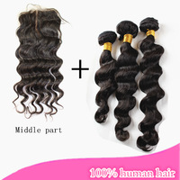 brazilian virgin hair loose wave middle part lace closure  with 3 pieces hair bundles human hair weaves cara hair products