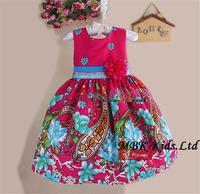 Baby Girl Dress New Summer 2014 Red Printed Elegant Sundress Flower Girl Princess Dress For Baby Dress Kids Clothing