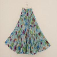 2014 New Women's Fashion Bohemian Patchwork Long Pleated Cotton Super Expansion Bottom Summer skirt  Free Shipping ! D003