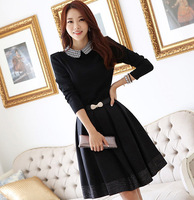 wholesale 6268 autumn slim one-piece dress peter pan collar long-sleeve elegant one-piece dress with belt