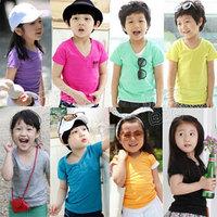 DD&SS 2014 summer candy V-neck boys clothing girls clothing baby child short-sleeve T-shirt tx-0984  Free Shipping