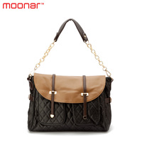 2014 Vintage Casual PU Leather Plaid Preppy style Shoulder Bags for Women Breif Patchwork Chain Bag handbag Totes Purse B296