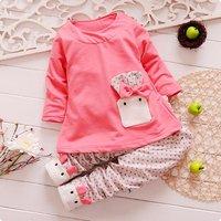 Retail NEW design 2014 children's clothing cartoon Rabbit girls clothing set spring autumn sets, kids wear,  long-sleeve suit