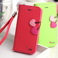 Cherry Series PU Leather Case For iPhone 5 5S 5C 4 4S Flip Cover Stand Function Wallet Pouch With Card Holder Holster