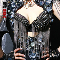 hot sale!2014 Female singer ds costume fashion rivets tassel style sexy bra jazz dance
