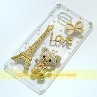 1 Pcs Handmade Bling Eiffel Tower Love Bear Clear Hard Back Case For HTC Desire 600 Dual SIM 606W