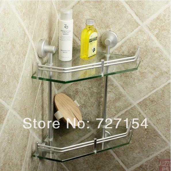 Grátis frete nova alumínio vidro prateleira do banheiro suporte do chuveiro Caddy armazenamento dupla prateleira de canto(China (Mainland))