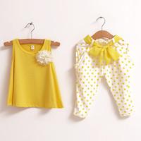 2014 new children's clothing set summer set child flower female vest polka dot harem pants twinset cute girl short-sleeved sets