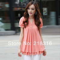 Plus size clothing mm women's summer 2013 female lace chiffon shirt short-sleeve medium-long top