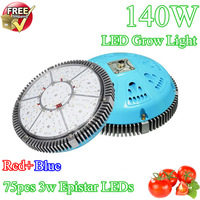 Free Shipping, AC100-240V 700mA Powerful UFO LED Plant Light 140W 75*3W CE Rohs Dropship
