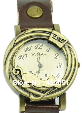 New Hot Sale Style cheetah Watches women girl Quartz wrist Watches cat watch(China (Mainland))