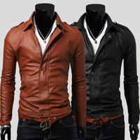 Casual turn-down collar short design slim leather clothing male leather coat PU motorcycle leather clothing 2298