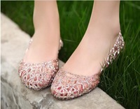 Free Shipping 2014 Summer Ultra-soft Non-slip Waterproof Women Flats Beach Shoes Breathable Crystal Shoes C1467