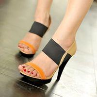 free shipping new 2014 spike high heels 12cm platform sandals for women summer shoes woman fashion ladies pumps blue beige