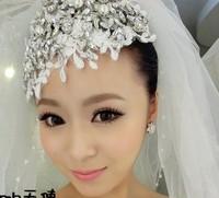 2014 fashion beautiful wedding bride  rhinestone lace forehead  rhinestone  headband hair bands luxury leaf headpiece UK