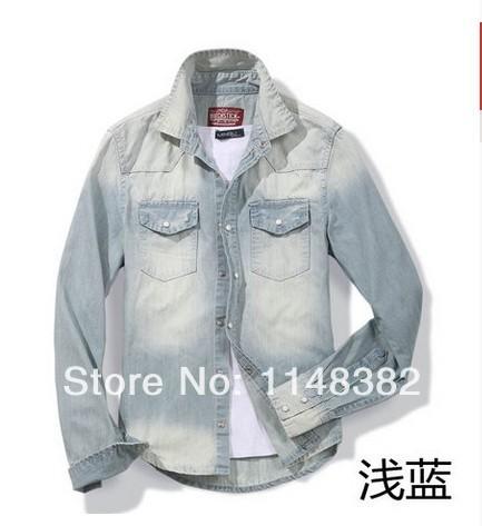 Freeshipping spring denim shirt male slim water wash blue stripe denim shirt long-sleeve 2203 casual men dress shirt(China (Mainland))