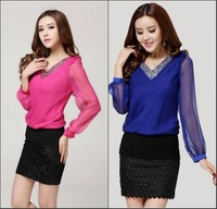 2014 Spring NEW!! New Fashion Women V-Neck Loose Chiffon Shirt