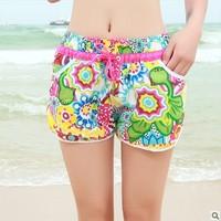 Women Korean version of the influx of quick-drying shorts beach pants big yards female beach hot women casual pants waist