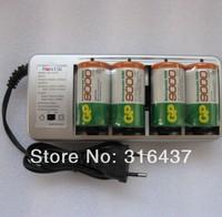 free shipping 4pcs x D size 9000  Rechargeable Li-ion Battery + 1pcsx Charger(US or EU plug)  whole sale