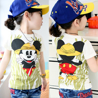 Mouse short-sleeve vest t-shirt 2014 summer children's clothing baby child male female child 4559
