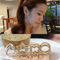 Accessories double layer diamond no pierced ears button fashion stud earring earrings clip female