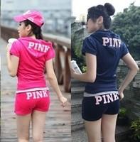 free shipping Spring pink short-sleeve velvet tracksuit sports set women shorts casual set sweatshirt sport suit sportwear