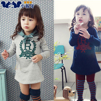 Small die 2014 spring children's clothing letter baby child female child long-sleeve dress 5933