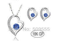 2014 Gift Brand Austrian Crystal Bride Gold Plated Zircon Rhinestones Heart Pendant Classic Necklace Stud Earrings Jewelry Sets