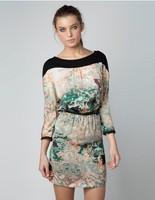 New Ladies' sexy ink print Dresses Vintage cascul slim back hollow out elegant party evening designer dress