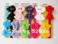 Shabby Flower Headband Chiffon Bow Flower on Elastic Skinny Headband Baby girls Headband 20pcs/lot