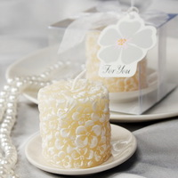 Scented Ivory Candle with Ceramic Candle Holder Favor (set of 6 boxes)