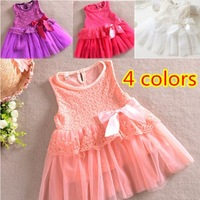 New 2014 baby girls dresses children clothing cotton ball gown dress kids bow lace princess clothes 2colors high quality