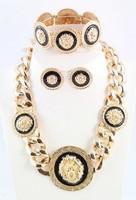 2014 Free Shipping Hot Sale Free Shipping Rihanna Chunky Black Enamel Lion Head Statement Necklace Earring Bangle Jewelry Set