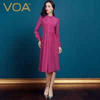 2014 spring new/silk long-sleeve one-piece dress/ 2014 red high waist mulberry silk pleated dress