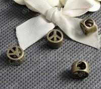 50pcs/lot 10mm Zinc alloy bead Antique Bronze Plated big hole bead Jewelry Findings JJA1241