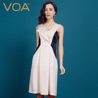 2014 new spring silk dress/jacquard one-piece dress/ V-neck mulberry silk tank dress