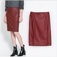 Free Shipping european women PU leather midi skirt bodycon sexy high waist vintage wine red skirt plus size S M L T stage style