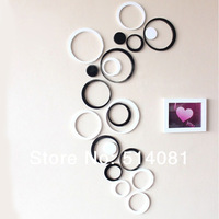 2 Set Black+2 Set White Indoors Decoration Circles Stereo Removable 3D DIY Wall Stickers In Stock