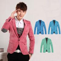 New 2014 brand fashion spring/winter british slim mens business blazers one button corduroy pink blazer jacket limited edition