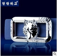 2014 New Male Fashion Cool Wolf Head Buckle Leather Causal Wild PU Leather Belts Blue/Black/White/Brown 110CM Good Quality