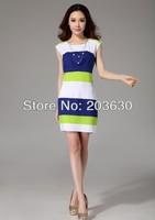 2014 Spring Summer Women A-line Slim Party Dresses Chiffon fashion ladies' Knee-length Dress Stripe Skinny Fit Free Shipping